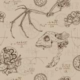 Naadloze achtergrond met demonschedel, vleugel en mechanische gedeelten royalty-vrije illustratie