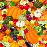 Naadloze achtergrond met diverse groenten en vruchten Vector illustratie Stock Afbeeldingen