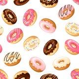 Naadloze achtergrond met donuts Vector illustratie stock illustratie