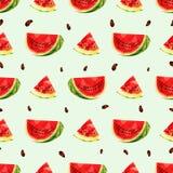Naadloze achtergrond met een stuk van sappige watermeloen in lage polystijl vector illustratie