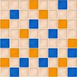 Naadloze achtergrond met gele, blauwe en beige mozaïektegels Stock Foto's
