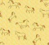 Naadloze achtergrond met gestileerde paarden Stock Foto