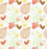 Naadloze Achtergrond met grappige vogels en bloemen Royalty-vrije Stock Afbeelding