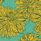 Naadloze achtergrond met hand getrokken bloemen. Vectorillustratio Royalty-vrije Stock Foto