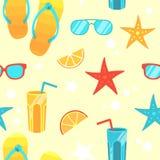 Naadloze achtergrond met heldere de zomersymbolen Royalty-vrije Stock Afbeelding