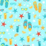 Naadloze achtergrond met heldere de zomersymbolen Stock Afbeeldingen