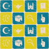 Naadloze achtergrond met Islamitische pictogrammen Stock Afbeelding