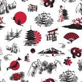 Naadloze achtergrond met Japanse miniaturen Stock Afbeeldingen