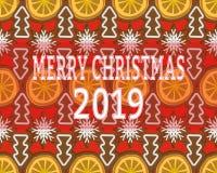 Naadloze achtergrond met Kerstmisdecoratie van droge sinaasappelen, peperkoek en koekjes stock illustratie