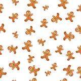 Naadloze achtergrond met Kerstmiskoekjes De koekjes van Kerstmis Vector illustratie royalty-vrije illustratie