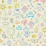 Naadloze achtergrond met kinderendieren en bloemenelementen vector illustratie