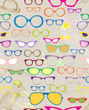 Naadloze achtergrond met kleurenoogglazen Stock Fotografie