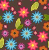 Naadloze achtergrond met kleurrijke bloemen royalty-vrije illustratie