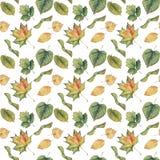 Naadloze achtergrond met kleurrijke groene gele de herfstbladeren Stock Fotografie