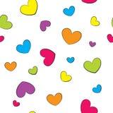Naadloze achtergrond met kleurrijke harten Stock Foto