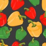 Naadloze achtergrond met kleurrijke peper in vlak ontwerp stock illustratie