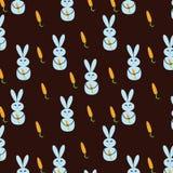 Naadloze achtergrond met konijnen en wortelen stock illustratie