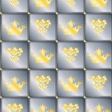 Naadloze achtergrond met kronen en Fleur DE lis Stock Afbeeldingen