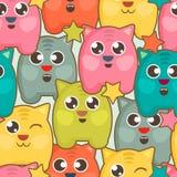 Naadloze achtergrond met leuke kleurrijke katten royalty-vrije illustratie