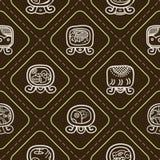 Naadloze achtergrond met Maya kalender genoemde dagen en geassocieerd glyphs vector illustratie