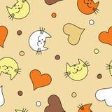Naadloze achtergrond met met decoratieve katten, harten en stippen Royalty-vrije Illustratie