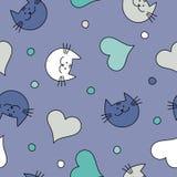 Naadloze achtergrond met met decoratieve katten, harten en stippen Vector Illustratie