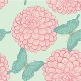 Naadloze achtergrond met mooie vlinders en bloemendahlia's in hand-drawn grafische stijl in uitstekende kleuren Stock Afbeeldingen