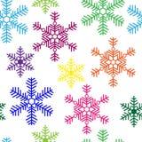 Naadloze achtergrond met multi-colored sneeuwvlokken Royalty-vrije Stock Afbeeldingen