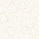 Naadloze achtergrond met orangasymbolen bitcoins Vector patroon Stock Fotografie