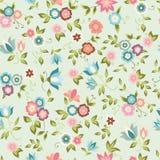 Naadloze achtergrond met roze en blauwe bloemen Stock Fotografie