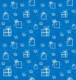 Naadloze achtergrond met sneeuwvlokken en giften vector illustratie