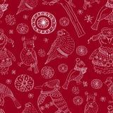 Naadloze achtergrond met sneeuwvlokken en vogels Royalty-vrije Stock Afbeeldingen