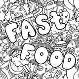 Naadloze achtergrond met snel voedselsymbolen Menupatroon Stock Foto