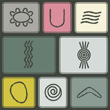 Naadloze achtergrond met symbolen van Australisch inheems art. Royalty-vrije Stock Afbeelding