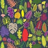 Naadloze Achtergrond met Tropische Bladeren Royalty-vrije Stock Afbeelding