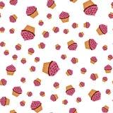 Naadloze achtergrond met verschillende grootte van getrokken muffins Stock Afbeelding