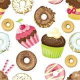 Naadloze achtergrond met verschillende snoepjes en desserts betegeld donuts en cupcakes patroon Leuke het verpakken document text Stock Afbeeldingen