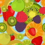 Naadloze achtergrond met vruchten en bessen vector illustratie