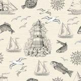 Naadloze achtergrond met vuurtoren, vissen, meeuwen en boten vector illustratie