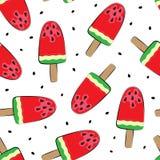 Naadloze achtergrond met watermeloen Vector illustratie Een eenvoudig patroon Jonge volwassenen royalty-vrije illustratie