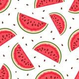 Naadloze achtergrond met watermeloenplakken Vector illustratie royalty-vrije illustratie