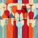 Naadloze achtergrond met wijnflessen en glazen Stock Afbeelding