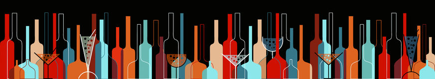 Naadloze achtergrond met wijnflessen en glazen Royalty-vrije Stock Fotografie