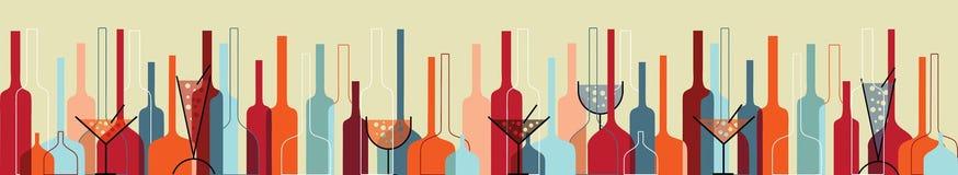 Naadloze achtergrond met wijnflessen en glazen Royalty-vrije Stock Foto's