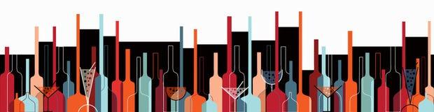 Naadloze achtergrond met wijnflessen en glazen Royalty-vrije Stock Afbeelding