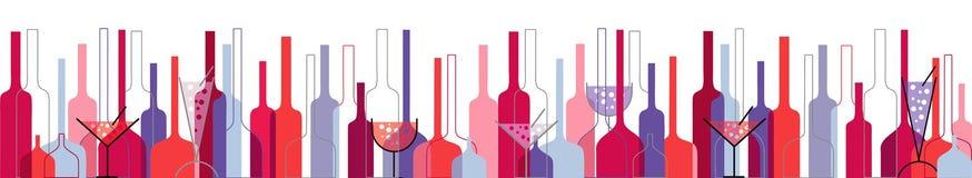 Naadloze achtergrond met wijnflessen en glazen Stock Afbeeldingen