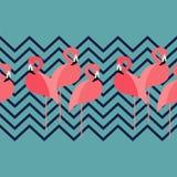 Naadloze Achtergrond Naadloze grens Roze Flamingo op een tropische achtergrond Royalty-vrije Stock Foto's