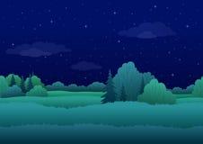 Naadloze achtergrond, nachtlandschap Stock Afbeeldingen
