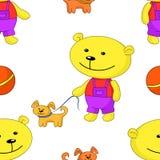 Naadloze achtergrond, teddy-beer met hond Royalty-vrije Stock Afbeelding