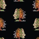 Naadloze achtergrond van appelboom in diverse seizoenen vector illustratie